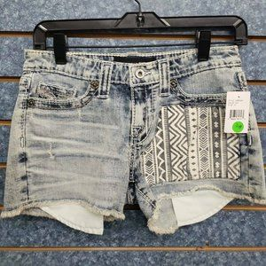 Big Star Tribal Design Light Blue Denim Shorts